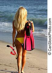 loiro, mulher, ir, Snorkeling