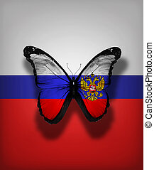 Russian flag butterfly, isolated on flag background