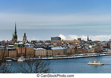 Winter cityscape of Stockholm - Winter view of downtown of...