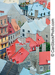 Quebec City - Colorful old roof of architecture in Quebec...