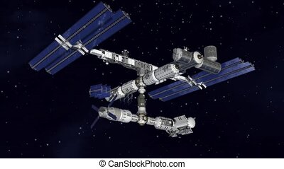 Satellite Space station - Satellite Spacestation flying over...