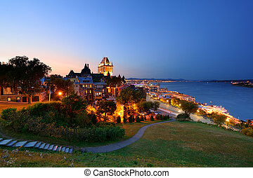 Quebec City skyline with Chateau Frontenac at dusk viewed...