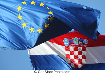 Details of EU and Croatian flags