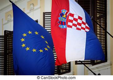 EU-Croatian flags