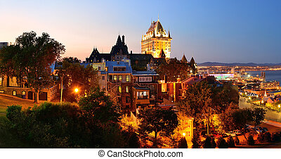 Quebec City skyline panorama with Chateau Frontenac at dusk...