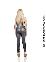 Girl back with long hair isolated on a over white background