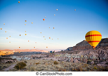 Many balloons over Cappadocia in Turkey