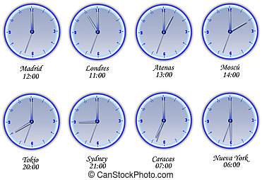 Time in different cities of the wor - Watches with the time...