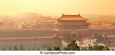 Forbidden City - Sunrise with historical architecture in...