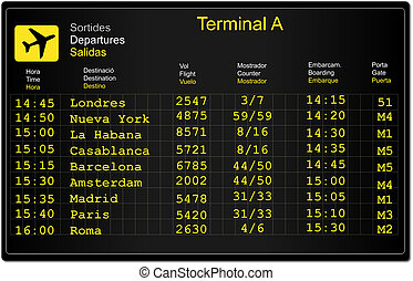 Airport Information Panel - Information panel of flight...