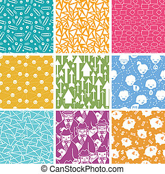 Set of nine business seamless patterns backgrounds