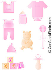 Objects baby pink on white background