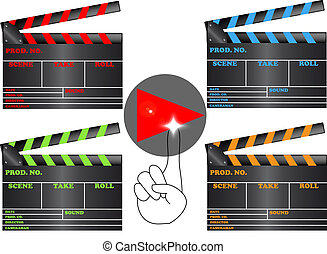 Slates of films - Film slate with the play symbol