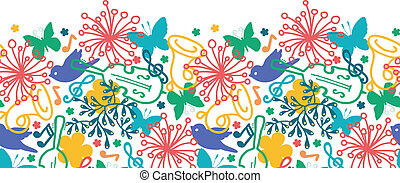 Spring music symphony horizontal seamless pattern background...