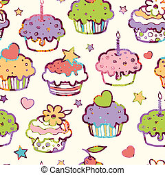 Birthday muffins seamless pattern background - Vector...