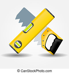 Level and saw icon vector illustration