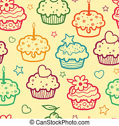Colorful muffins seamless pattern background - Vector...