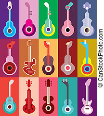 Guitars vector illustration - Acoustic and electric guitars...