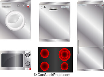 Appliance group - Different household appliances on white...