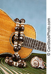 Tropical Music - Closeup of beautiful Hawaiian koa wood...