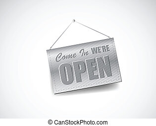 We are Open Sign. Illustration design over a white...