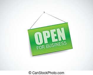 open for business sign illustration design over white