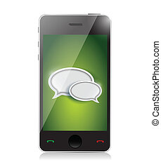 Mobile phone with chat icons