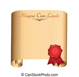 magna Cum Laude College graduation Diploma illustration...