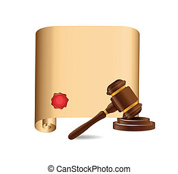wooden gavel against old scroll illustration design over...