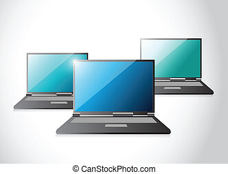 set of laptop computers