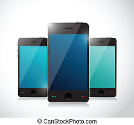 Set of touchscreen smartphones isolated