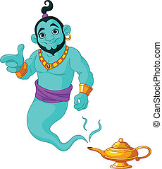 Genie granting the wish - Genie appear from magic lamp