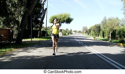 Wide shot of woman running