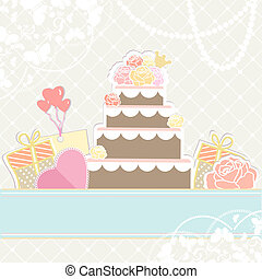Wedding or birthday cake with gifts - Retro illustration in...
