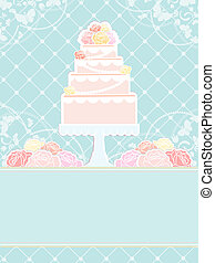 Pink cake and roses on blue background - Conceptual...