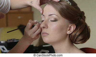 Bridal makeup artist - Makeup artist helped the bride in...