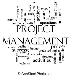 Project Management Word Cloud Concept in Black and White -...