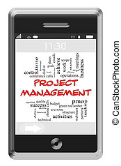 Project Management Word Cloud Concept on Touchscreen Phone -...