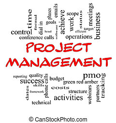 Project Management Word Cloud Concept in Red Caps - Project...