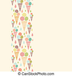 Ice cream cones vertical seamless pattern background border...