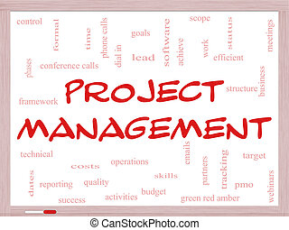 Project Management Word Cloud Concept on a Whiteboard with...