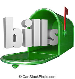 Bills Word in Mailbox Paying Down Debt Credit Card Payment -...