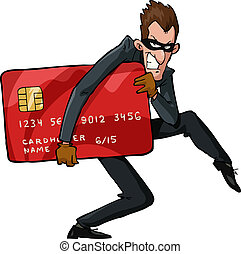 Cartoon thief - A thief with a credit card vector...