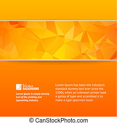 Orange triangle banner. Vector Illustration.
