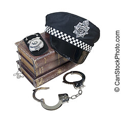 Police and Crime Books with Police Hat, Badge and Handcuffs...