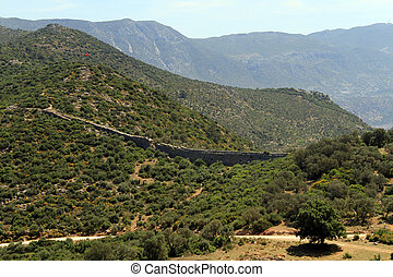 Road and aquaduct - Road and Patara aquaduct in Turkey