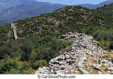 Patara aquaduct - View of Patara aquaduct and forest in...