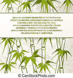 Bamboo with leaves pattern. Vector illustration.