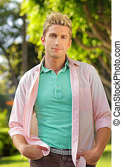 Relaxed young guy - Outdoor portrait of a casual relaxed...