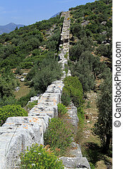 Patara aquaduct - View of Patara aquaduct in Turkey